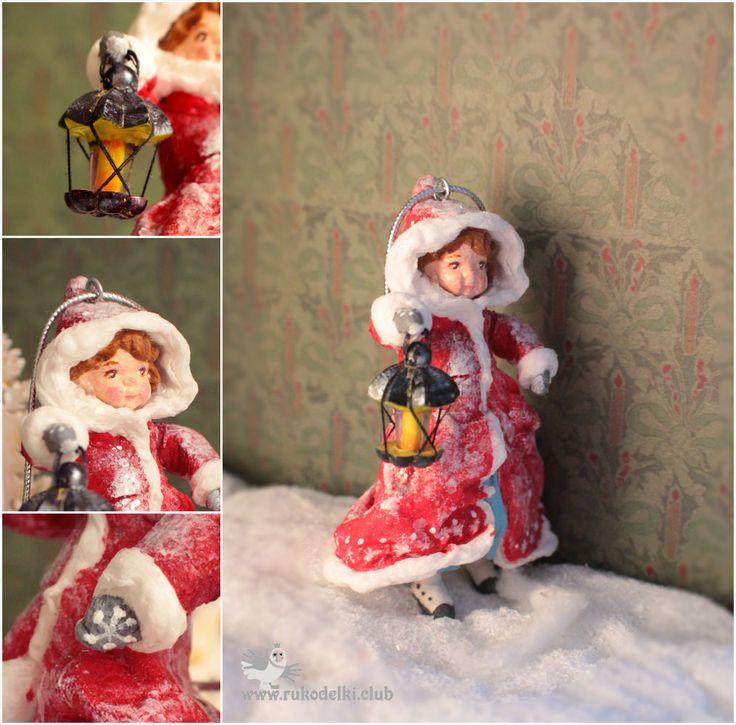 Девочка с фонариком. Новогодние игрушки из ваты. Рождество. Ретро. Елочная игрушка из ваты. Рождество Коллекция игрушек  Подарки уникальные Зима Елка Винтаж
