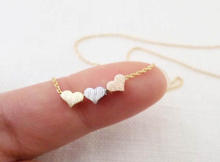 Tiny+3+hearts+necklaces+gold+silver+and+by+TiffanyAvenueBridal,+$18.00