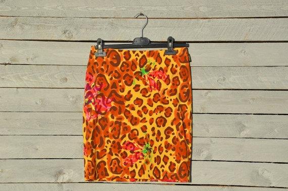 Versace animalier floral print mini skirt by RoaringRetro on Etsy, $80.00