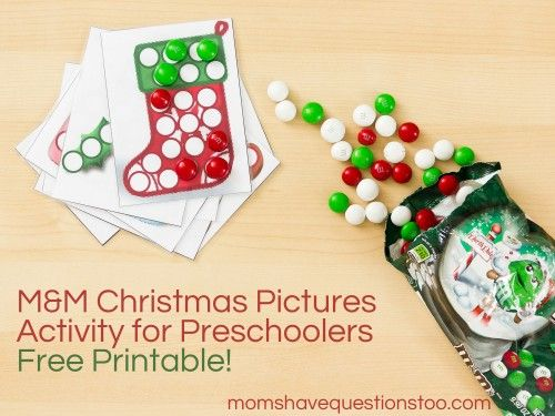M and M Christmas Pictures, Free Printable to use with Christmas M and Ms. Fun preschool activity for Christmas.