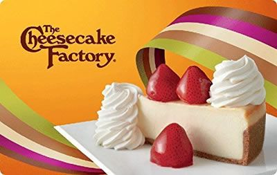 Chance to Win a Cheesecake Factory $100 Gift Card! Offering more than 200 menu selections, be sure save room for one of more than 50 decadent cheesecakes...