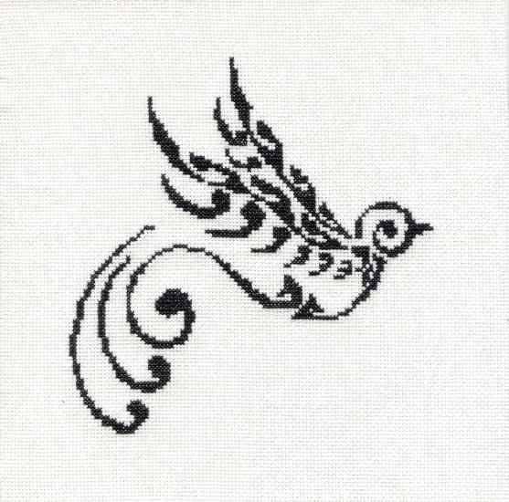 Tribal Tattoo Unframed Swallow Cross Stitch