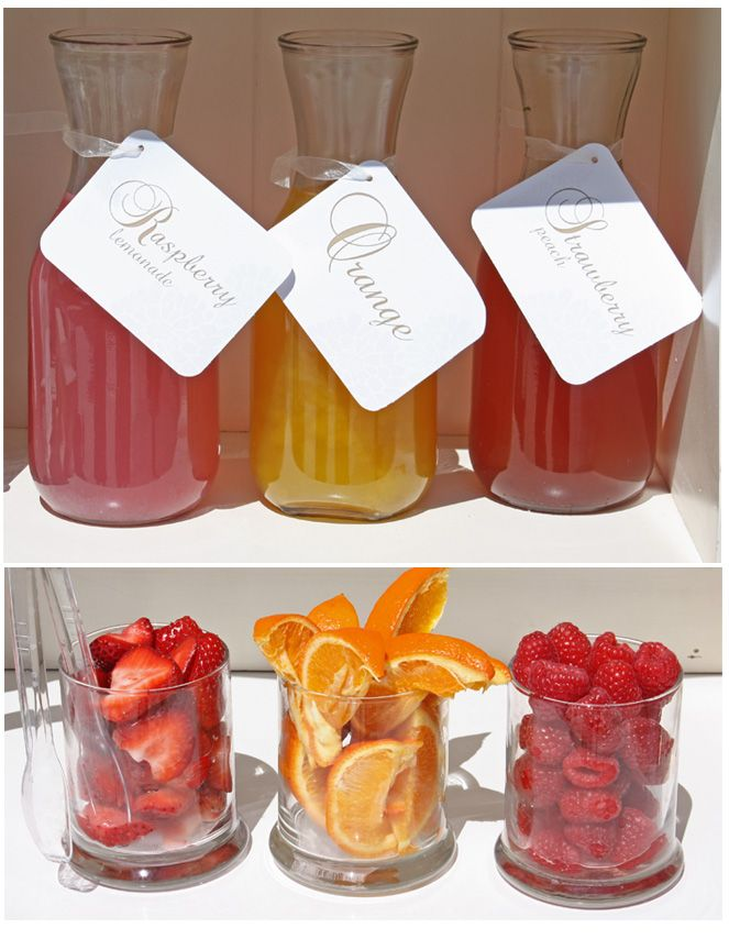 mimosa bar - so many possibilities -- pear, cranberry, orange, peach juices - fruit -- strawberries, raspberries, blackberries, orange, pear, peach, pineapple, etc..........
