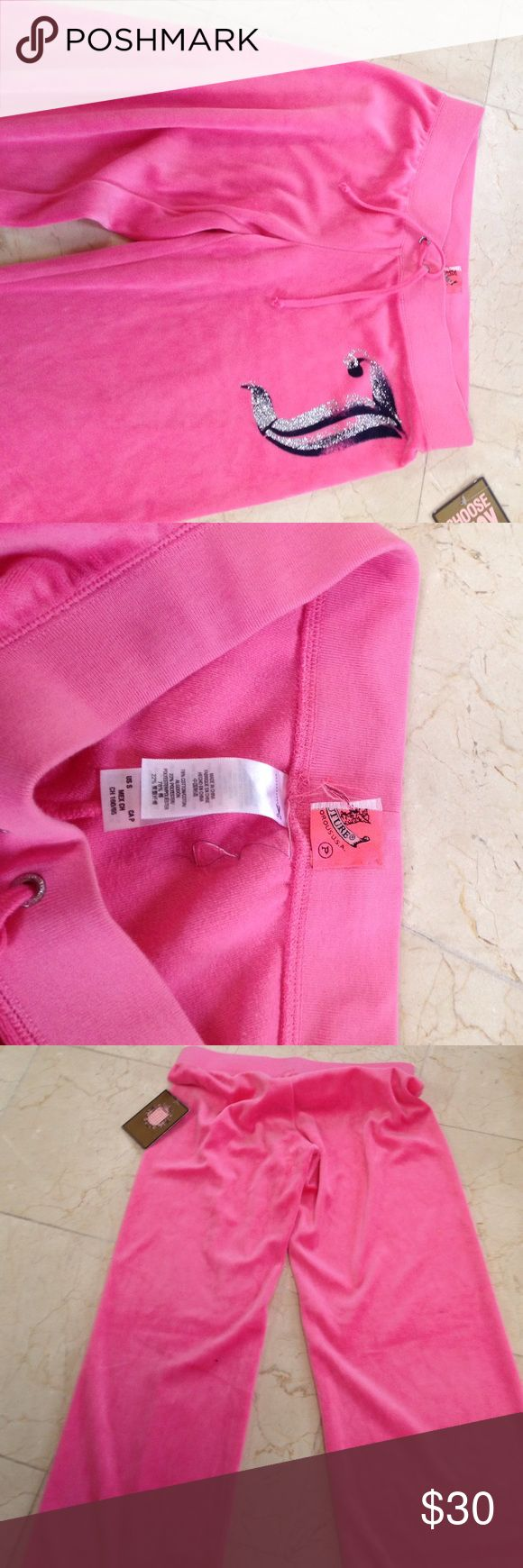 BNWT Juicy Couture pink pants and a sparkling 'J' Lovely BNWT Juicy J pants. This is a real Juicy pants size petite. This was purchased from TJ Max, so you know it's real and that's why the inner tag is cut. Let me kno if you have any questions let me kno. Offers and trades accepts! Thankx for taking a peek in my closet!💋💋💋 Juicy Couture Pants Track Pants & Joggers