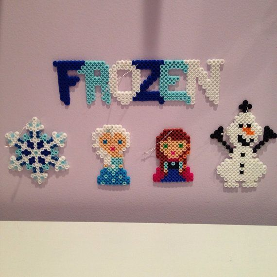 Disney Frozen perler bead Christmas ornament set ( Includes Elsa, Anna, Olaf, a Frozen logo, and a beautiful icy snowflake) by katie822