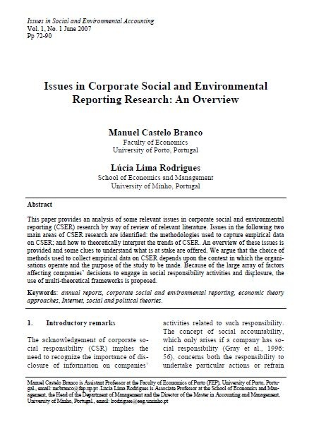Issues in Corporate Social and Environmental Reporting Research