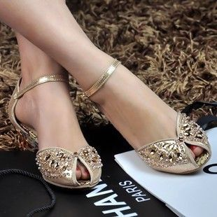 leather low heel crystal wedding shoes silver peep toe flat shoes woman-inSandals f...