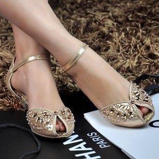 Online Shop autumn -summer women rhinestone sandals big size genuine leather low heel crystal wedding shoes silver peep toe flat shoes woman|Aliexpress Mobile
