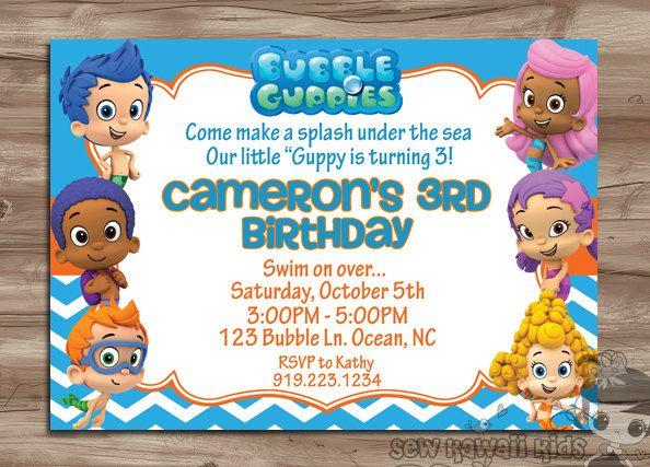 BUBBLE GUPPIES Birthday Invitation Bubble Guppies by SewKawaiiKids, $10.00