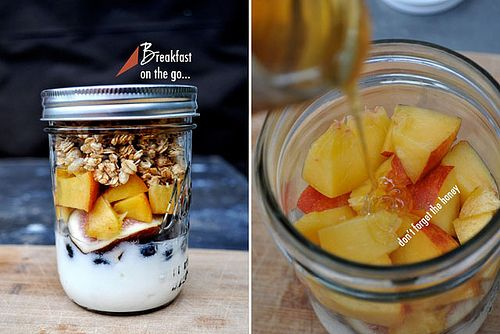 """breakfast on the go.  YUM!  """"My favorite is lowfat Greek yogurt, granola, seasonal fresh fruit all topped off with honey. I like putting it in a pint sized mason jar because it's so much nicer eating out of glass than plastic and because the mason jar cap screws on and doesn't ever pop off in my bag. My cousin-in-law, Jora, makes a great granola recipe if you want to make it yourself instead of buying. The recipe card below can be saved or scaled and printed on a 3x5 note card too. Enjoy!""""…"""