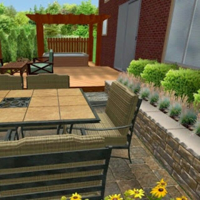 Retreat Landscape Design creates a view from proposed patio to deck and hot tub with custom privacy screen. Discoveryourretreat.ca