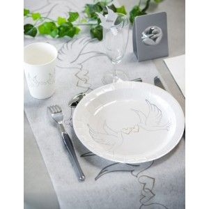 assiette carton mariage colombe pas chre assiette colombe carton blanc chic ronde 23 cm les - Assiette Jetable Mariage