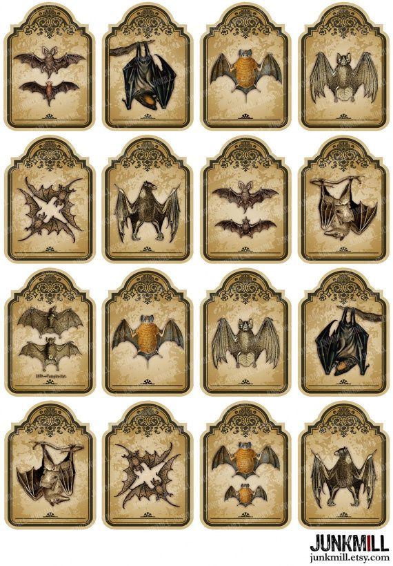 VICTORIAN BATS. Hang tags in two sizes. Digital Printable Collage Sheet by JUNKMILL, $3.50