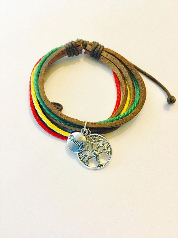 Jamaican color charm bracelet Unisex Dark brown bracelet