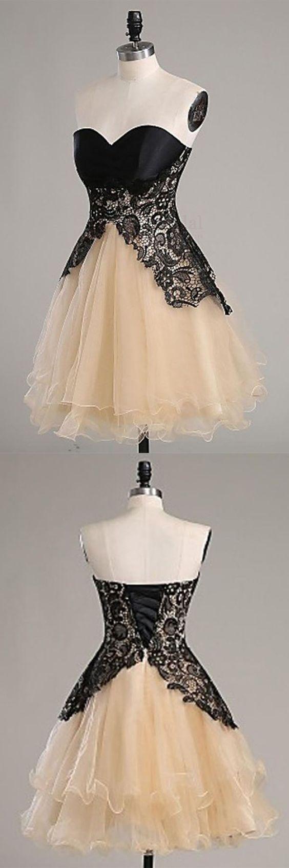 Black lace prom dress,sweatheart neck prom dress,homecoming dress,short prom…