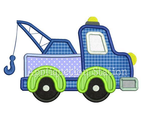 Tow Truck Applique Machine Embroidery Design blau grün junge Baufahrzeug INSTANT DOWNLOAD