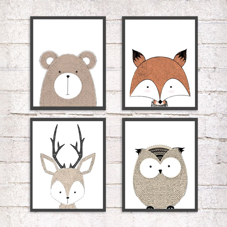 Cute Animals!! PERFECT for KIDS rooms!! Buy 4 and get FREE shipping!! by RCuerdos on Etsy