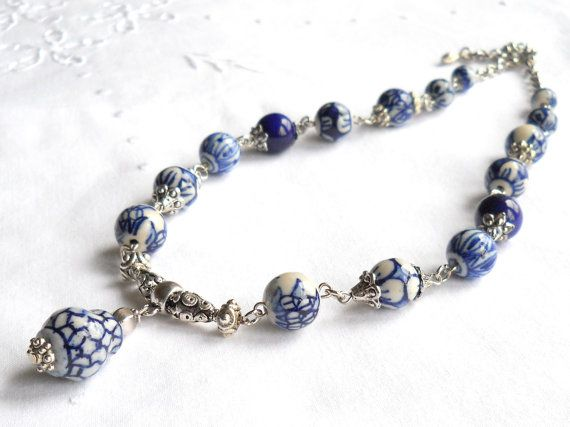 Hey, I found this really awesome Etsy listing at https://www.etsy.com/listing/198169774/delft-necklace-white-and-blue-necklace