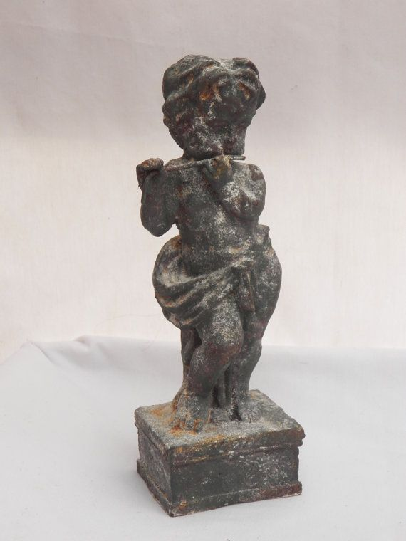Reserved Old Antique Cast Iron Cherub Angle Putti Statue Playing Flute Statuary Baby Angle