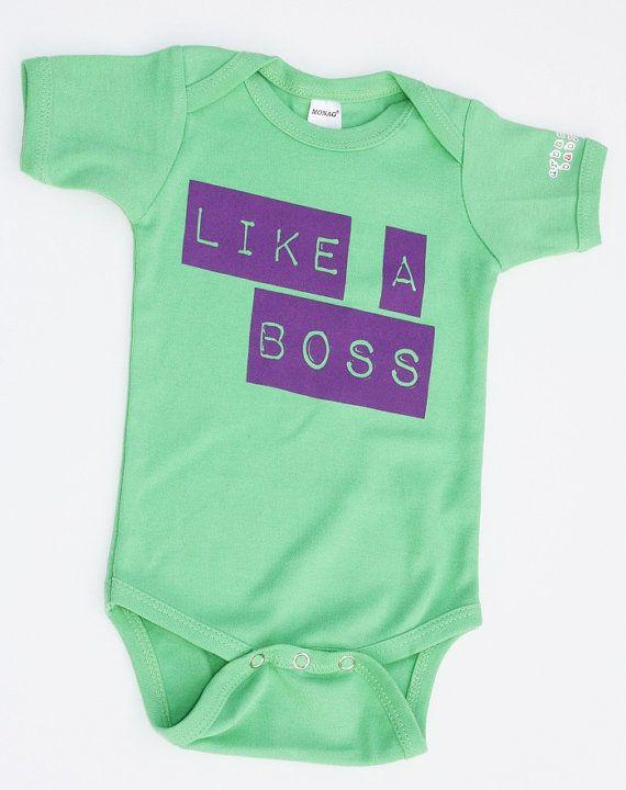 Like a Boss Baby Onesie! #urbanbabyco #likeaboss #babyshower #babygift #green #purple #babybirthday #bodysuit #onepiece