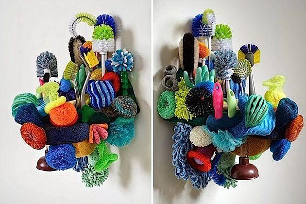 Fantastische Korallenriffs aus Putzschwämmen