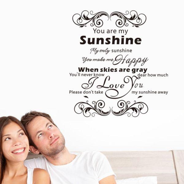 Ты мое солнце цитату Я Люблю тебя home decor стены стикеры стены винила наклейки свадебные украшения стола