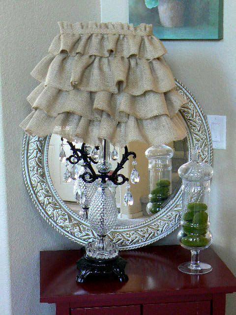 Ruffled  Burlap  Lamp Shade   Paris  Shabby Chic. $65.00, via Etsy.