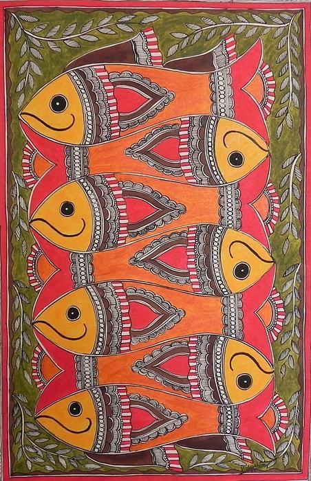 Seven Fishes  Madhubani in 2019  Madhubani painting Art Mughal paintings