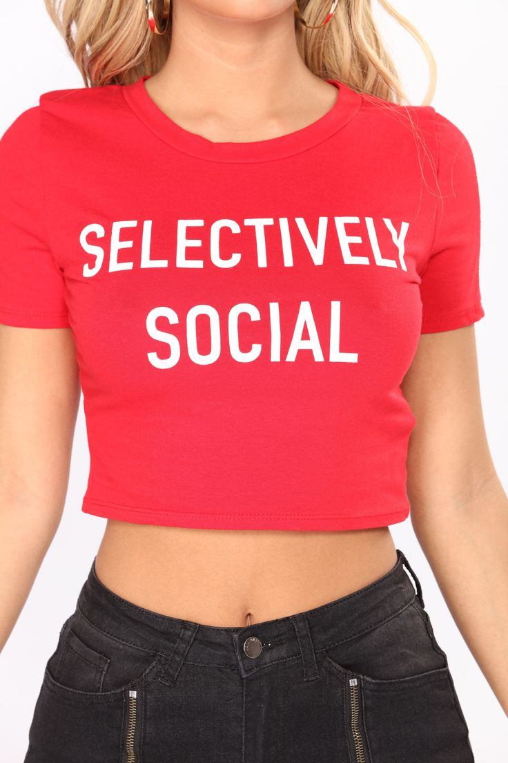 Selectively Social Tee - Red/White