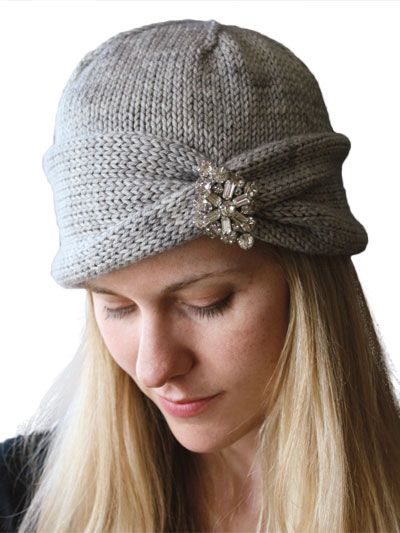 Nola Cloche Knit Pattern- love it, and I can use an old broach