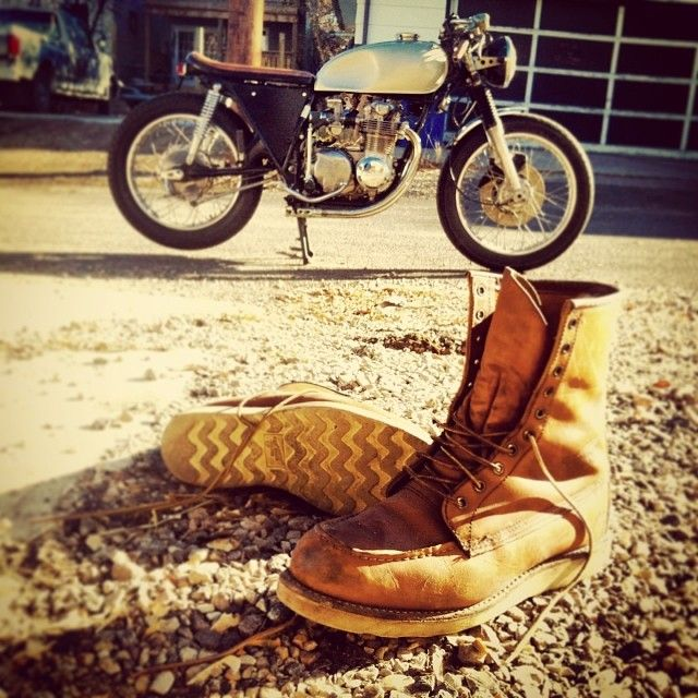 #TBT to that woderful time of year when riding bikes and not needing several layers to live was a thing. @Red Wing Heritage 877 8-inch moc toe boot, and any other boot from the heritage line, are available to order here at Norwood.