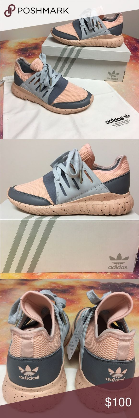 CUSTOM ADIDAS TUBULAR RADIAL SHOES Customized adidas tubular radial shoes in a size 7. Pink speckled sole with grey. Never worn!! Tags are still on and everything. Box and bag included. Super cute but the size just wasn't right :( originally $135 Adidas Shoes Sneakers