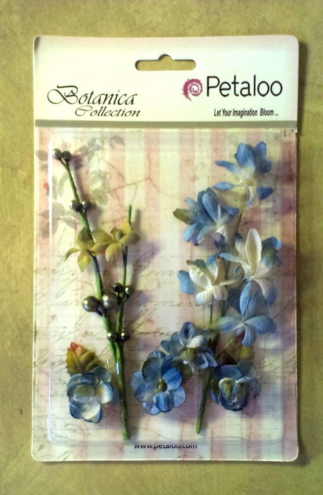 Petaloo Grey Blue Botanica Flowers & Vines Embellishments - bendable stems