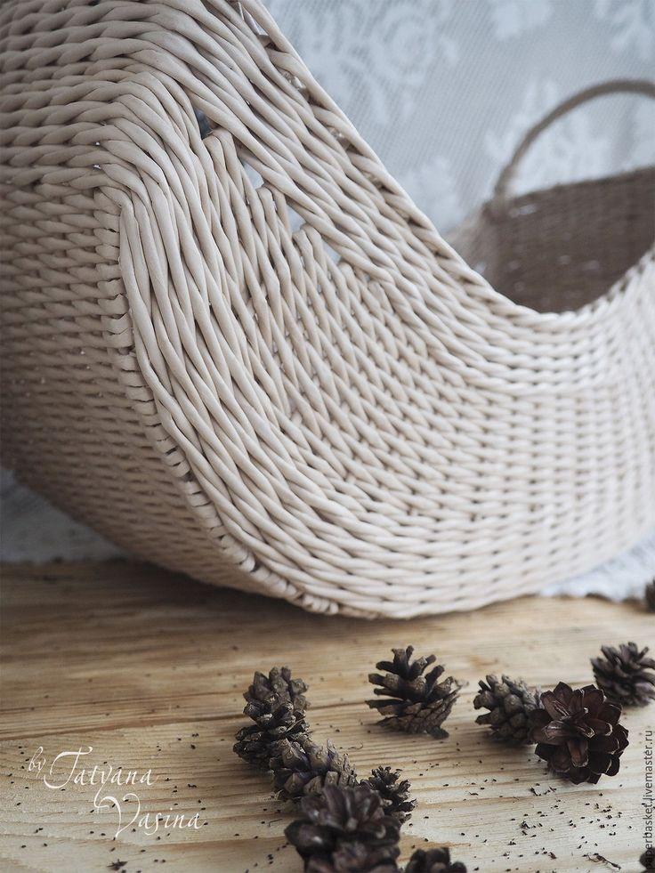 """Купить Корзина плетеная """"Необычная"""" - бежевый, для дома и интерьера, для дома, для дачи, необычный подарок"""