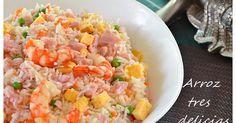 Fabulosa receta para Arroz tres delicias (Thermomix). Hoy toca una receta de comida china, quien no ha probado este rico arroz, acompañado de una rica salsa de soja….., una forma estupenda de enriquecer este arroz , no solo con la salsa, sino con una variedad de alimentos que le dan sabor y color al plato….. Es un plato muy sano y lleno de nutrientes, y de coste asequible…Te animas