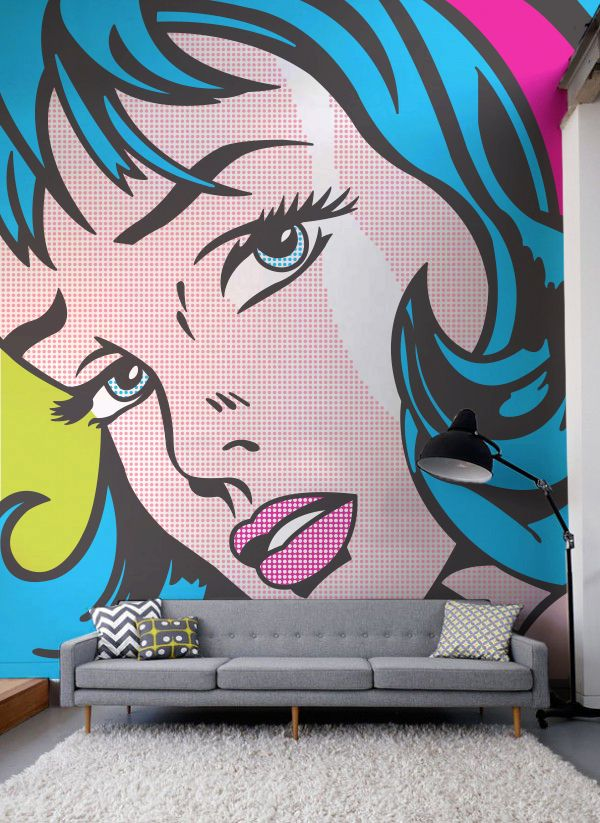 Step into the world of Pop-Art with this Roy Lichtenstein art wallpaper design. Punchy colours and heavy black outlines make for an incredible feature wall in the living room.