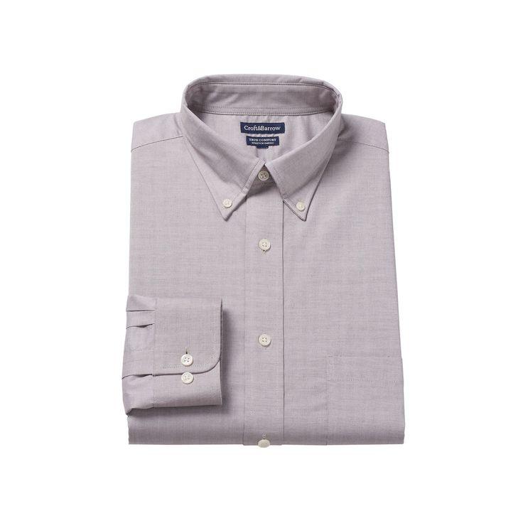 Men's Croft & Barrow® Easy-Care True Comfort Regular-Fit Stretch Dress Shirt, Size: 16.5 36/37, Dark Brown