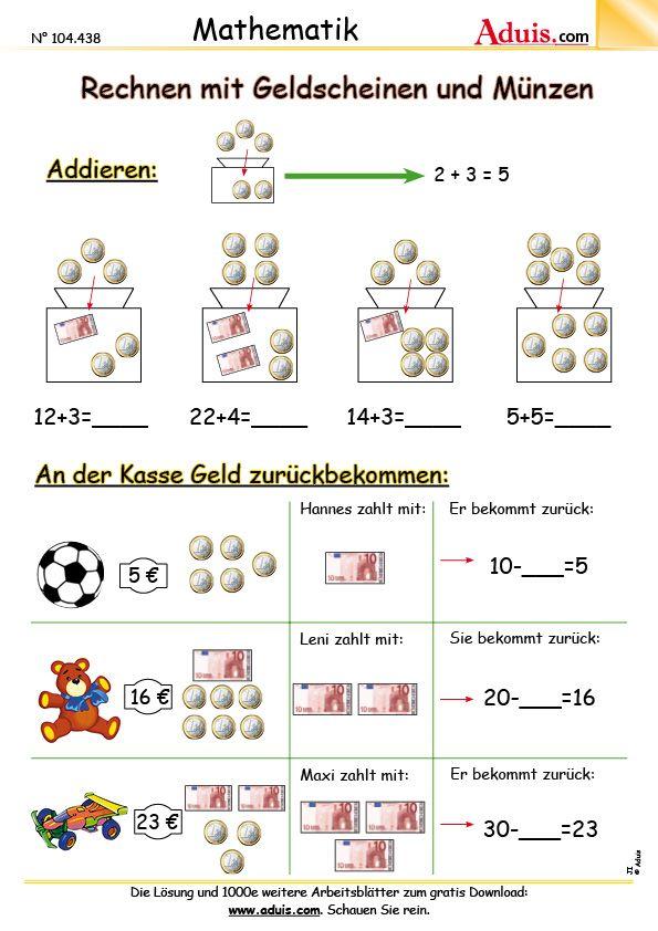 Euro Cent Arbeitsblätter Mathematik Größen Mathe