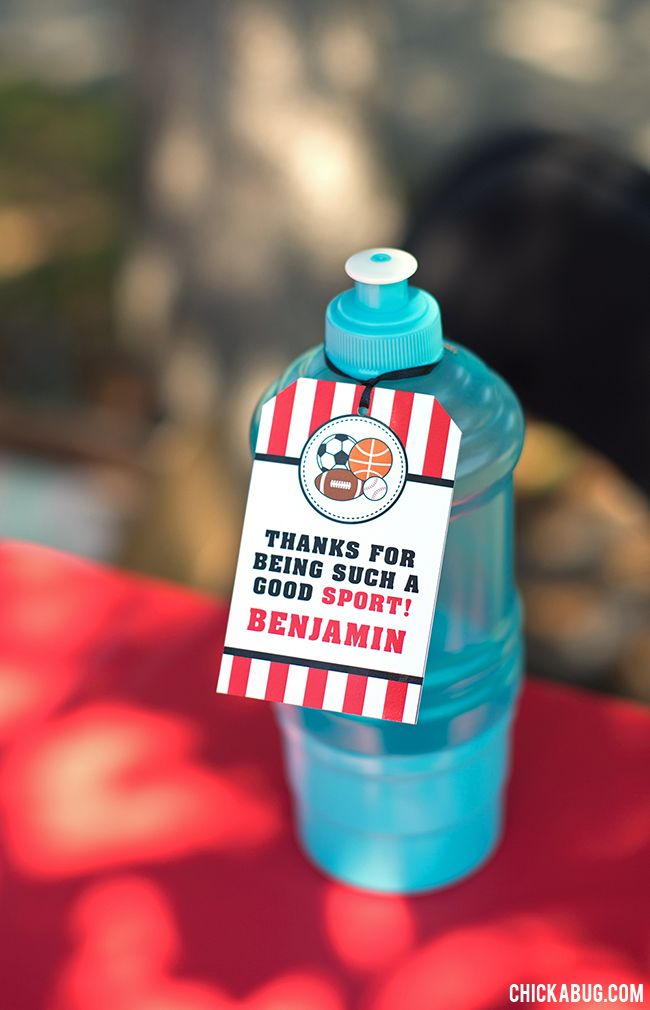 All-star sports theme birthday party favors - water bottles from the dollar store, personalized with favor tags from Chickabug!