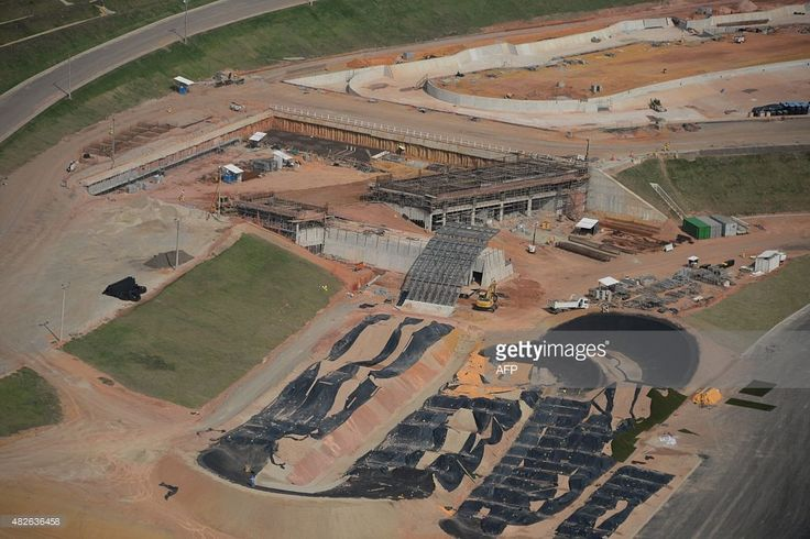 Aerial view of the Deodoro Olympic Village, where the grass hockey, horseback riding, target shooting and bike BMX events will take place during the Rio 2016 Olympic Games, in Rio de Janeiro, Brazil on July 28, 2015. AFP PHOTO / VANDERLEI ALMEIDA