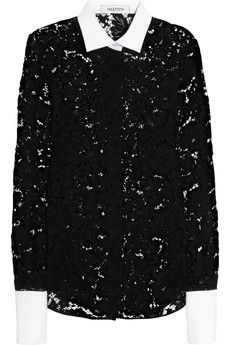 Valentino Lace and cotton-piqué shirt   NET-A-PORTER