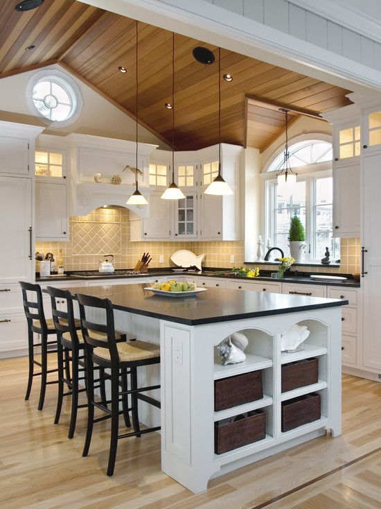 17 best ideas about vaulted ceiling kitchen on pinterest for Vaulted ceiling kitchen designs