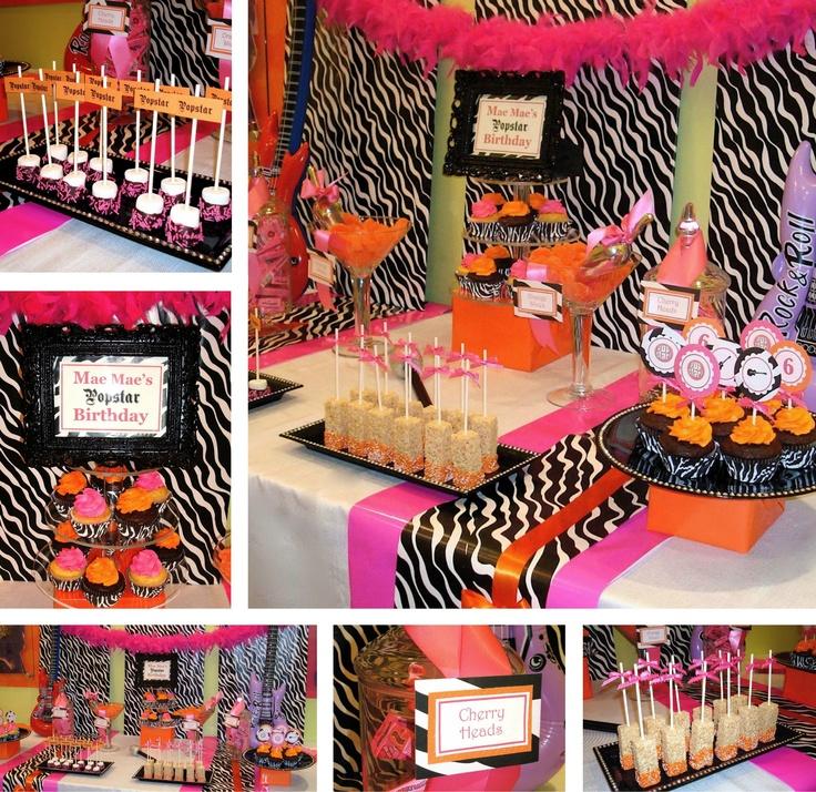 Popstar Party: Pink Zebra Party, Bday, Party Buffets, Candy Bar, 18Th Birthday, Popstar, Dessert, Zebra Birthday Party Ideas