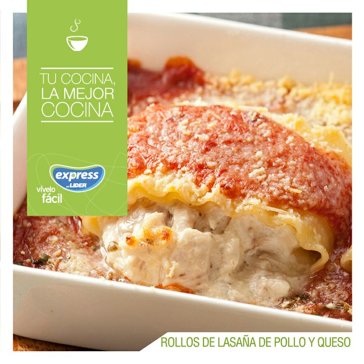 Rollos de lasaña de pollo y queso. #Pastas #Recetario #RecetarioExpress #Lider