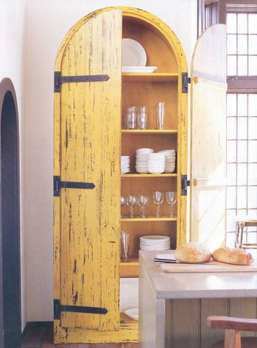 yellow cupboard doors >> This is really wonderful!! Reminds me of my friend Margalit's new kitchen!