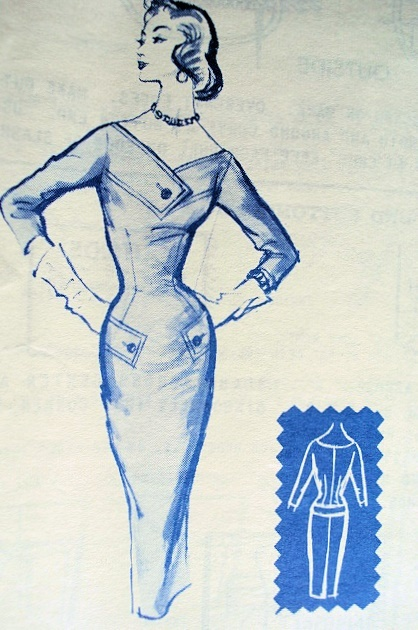 1950s SIZZLING SLIM BUSINESS DRESS PATTERN FABULOUS FIGURE HUGGING DESIGN MODES ROYALE 124