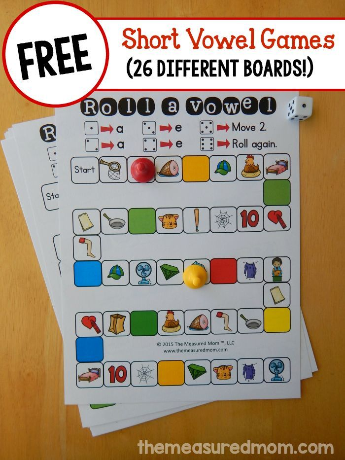 Looking to help your child learn those tricky short vowels?  Print one of 26 FREE short vowel games for some low-prep practice!  Colorful and fun way for students to practice short vowels.  There are enough to keep any literacy center fresh and engaging.  Go to:  http://www.themeasuredmom.com/26-free-games-teach-short-vowel-sounds/