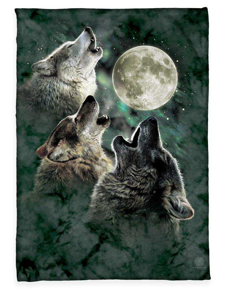 The Mountain Three Wolf Moon Fleece Blanket
