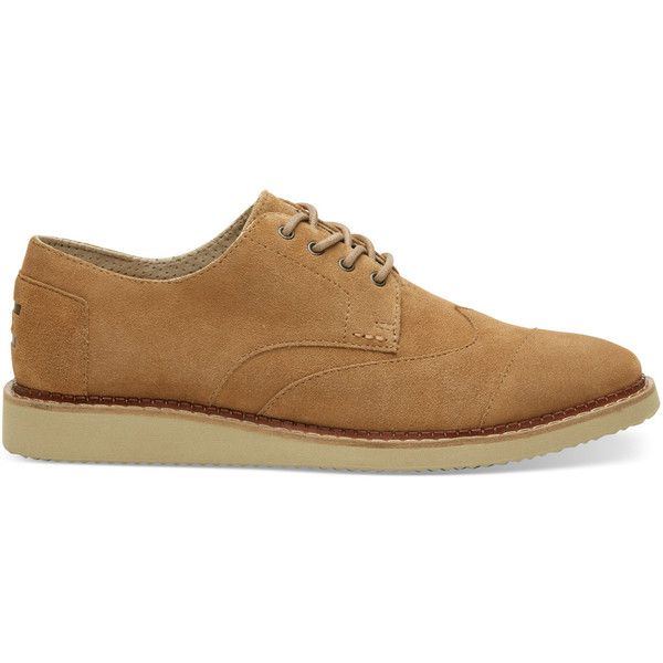 TOMS Toffee Suede Men's Brogues  Shoes ($119) ❤ liked on Polyvore featuring men's fashion, men's shoes, toffee, mens suede derby shoes, mens derby shoes, mens brogues, mens shoes and mens brogue shoes