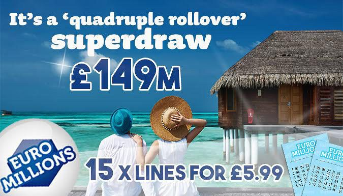 15 Lotto or EuroMillions Lines + Free Games Get 15 syndicated Sat Lotto or Fri EuroMillion Lines      Or 40 or 80 syndicated EuroMillions lines      Includes 15, 40 or 80 entries into the Millionaires Raffle      Depending on the package, get 2, 3 or 6 FREE instant-win games with a chance to win up to 7 poundK cash as a welcome gift      Lucky-dip; numbers are automatically generated      All...